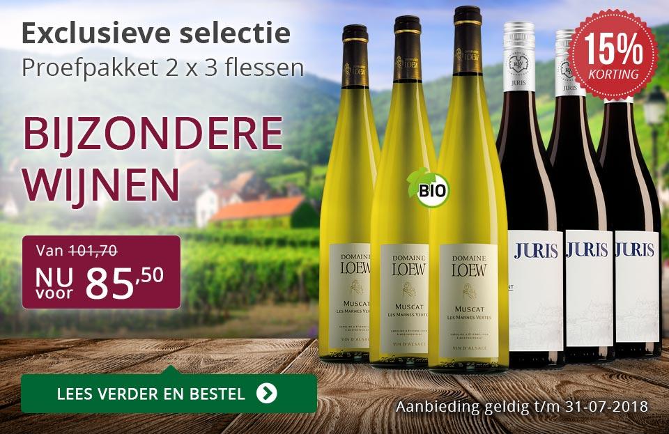 Proefpakket bijzondere wijnen juli 2018 (108,00) - paars