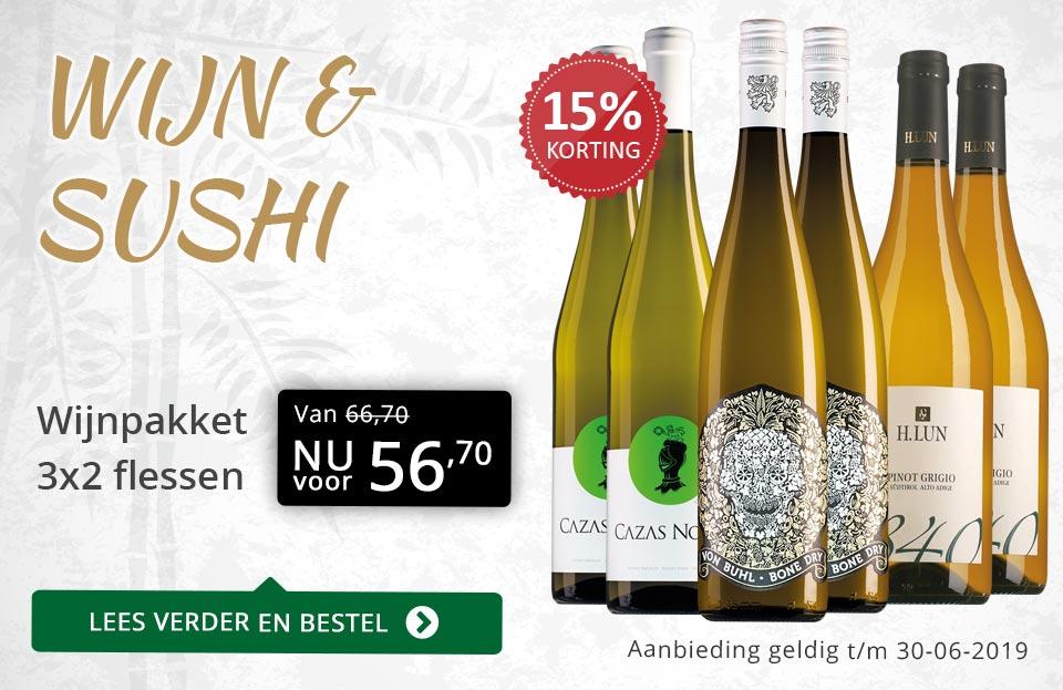 Wijnpakket Wijn & sushi - goud/zwart