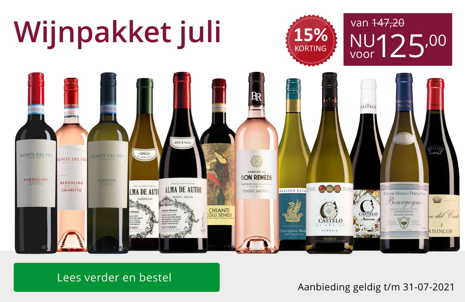 Wijnpakket wijnbericht juli 2021(125,00) - paars
